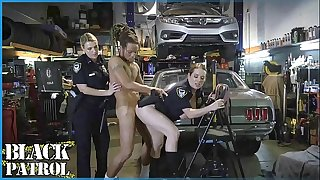 BLACK PATROL - Busty White Cops Shut Down A Chop Shop And Rail Big Black Cock