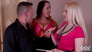 Voluptuous hotties Laura Orsolya & Angel Wicky ejaculation during 3 way