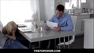 Blonde MILF Step Mom Olivia Blu Blows Step Son In Front Of His Dad