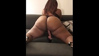 Big booty wife pounds toys