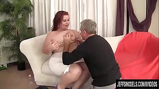 Busty BBW Woman Lynn Blows and Tit Fucks a Guy and Then Screws Him